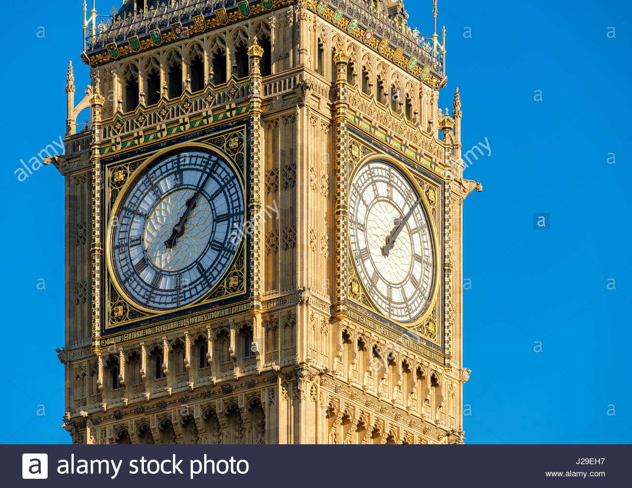 United Kingdom, England, London. Clock face of Big Ben (Elizabeth Tower), which stands at the north end of the Palace - Stock Image