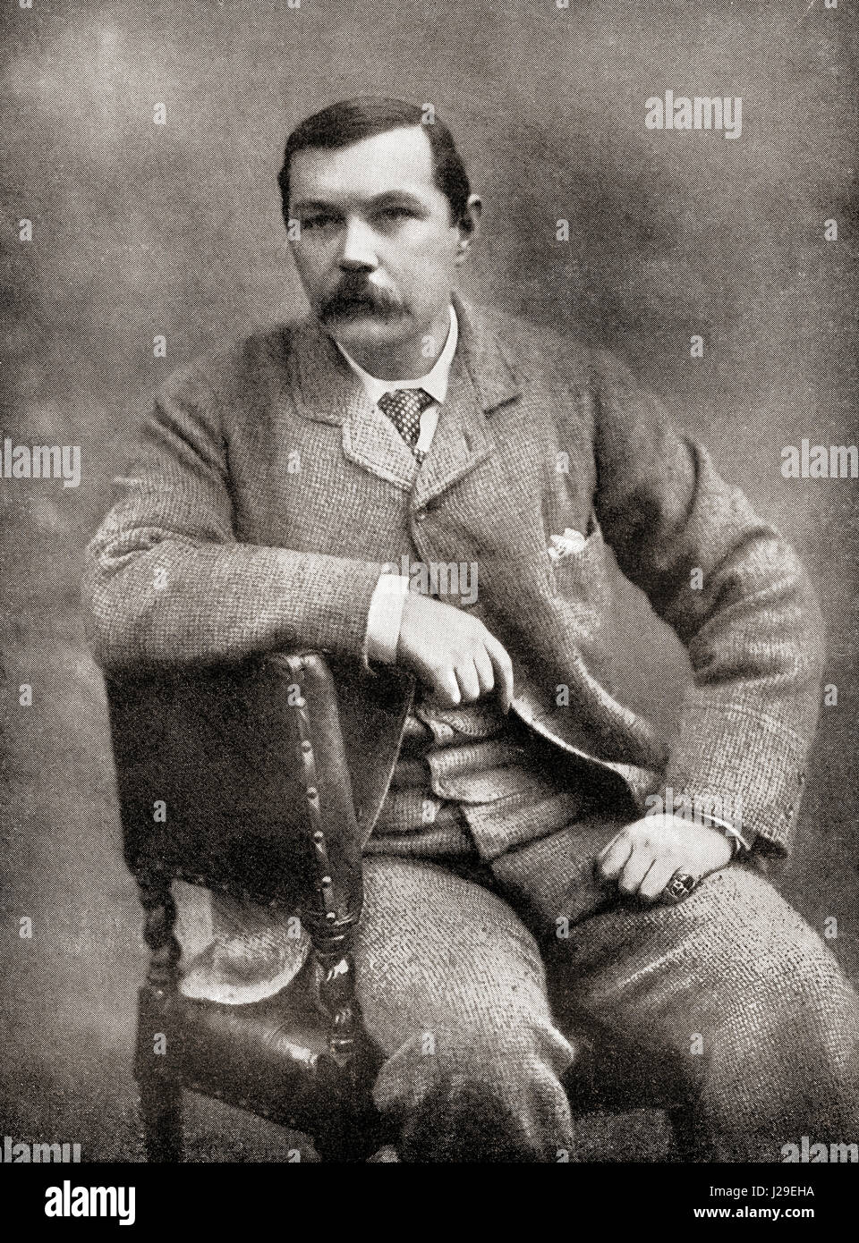 Sir Arthur Ignatius Conan Doyle, 1859 –1930.  British writer and physician.  From The International Library of Famous - Stock Image