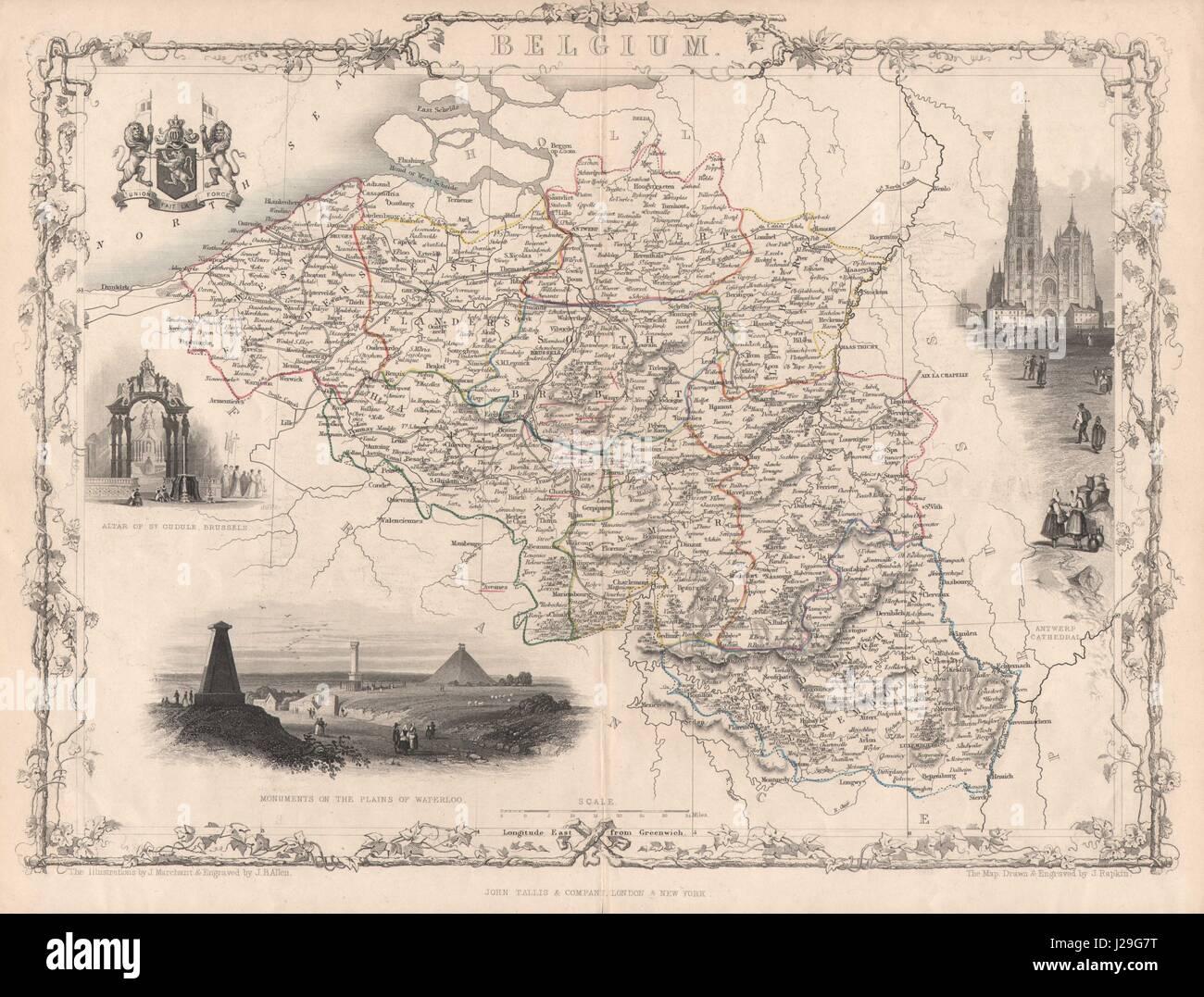 BELGIUM/Luxembourg. Antwerp Waterloo. Trimmed Coloured. TALLIS/RAPKIN c1851 map - Stock Image