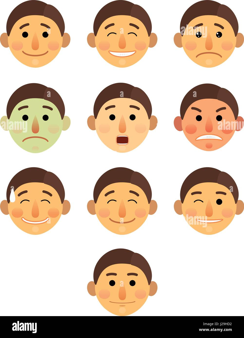 boy or man different face emotions collection cartoon flat - Emoji emoticon icon vector illustration set. Face on - Stock Image