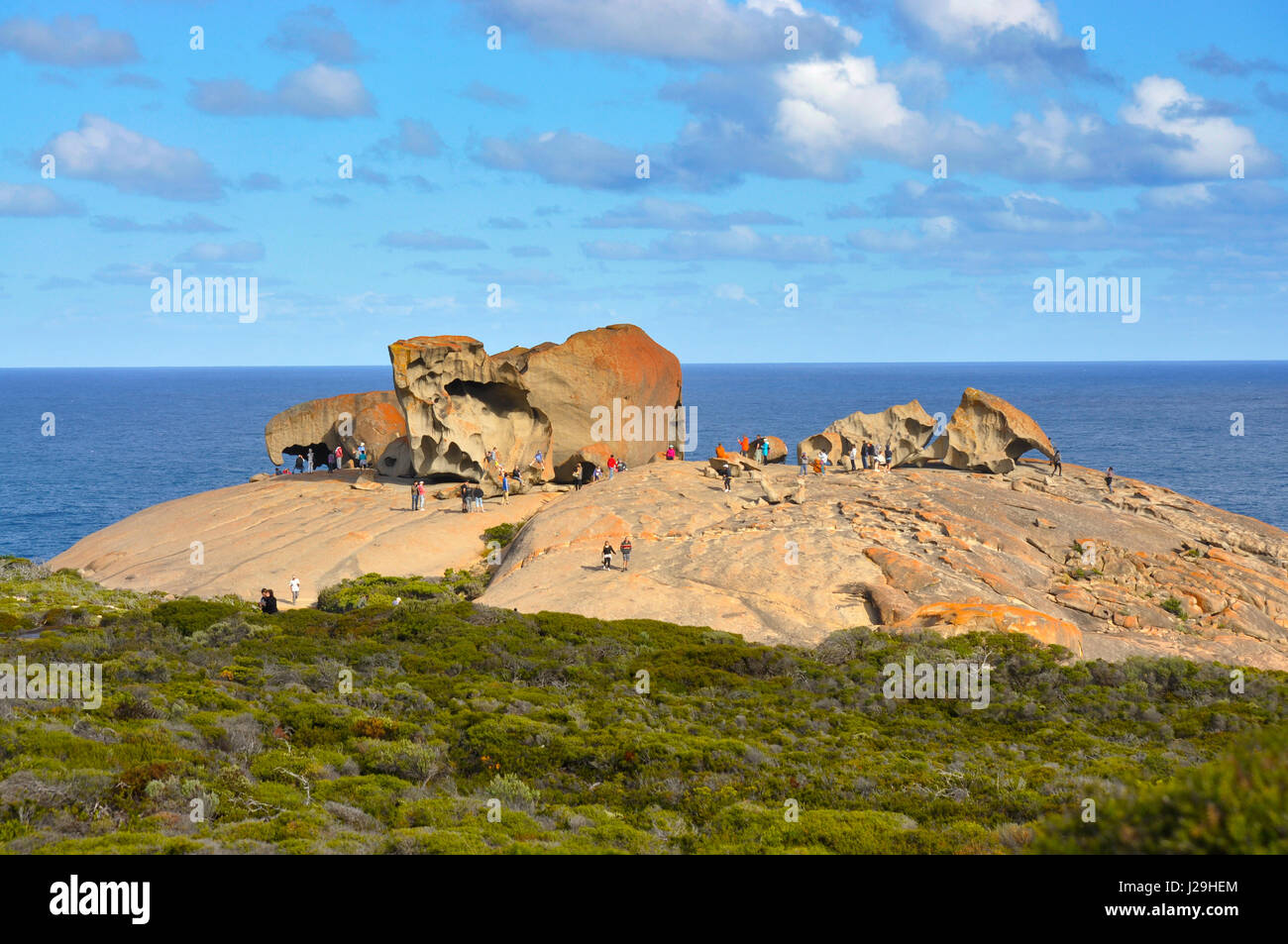Crowd of tourists around 'Remarkable Rocks' area at Kangaroo Island - Stock Image