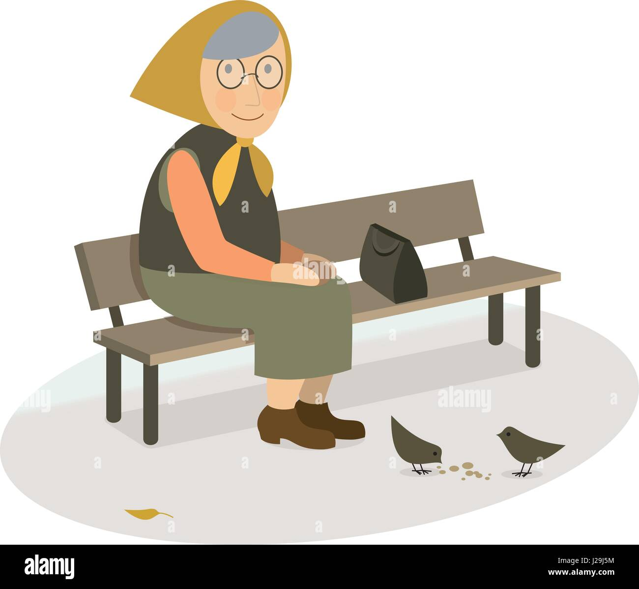 CIS grandmother elderly old woman sitting on a bench feeding pigeons with bread crumbs in the park Vector flat illustration - Stock Vector