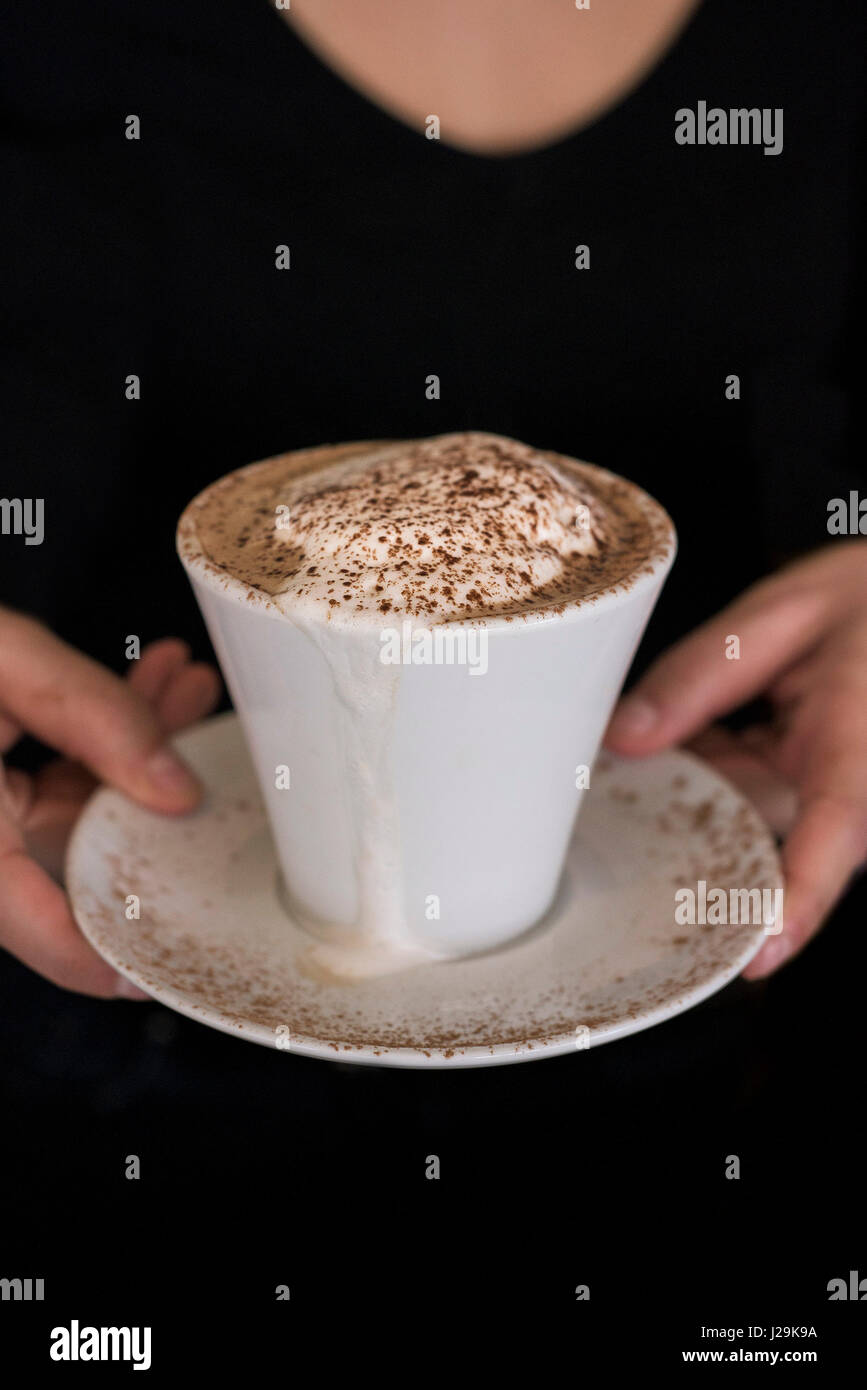 Cappuccino coffee Cup Saucer Coffee Froth Chocolate sprinkles Serving Coffee break Refreshment Italian - Stock Image