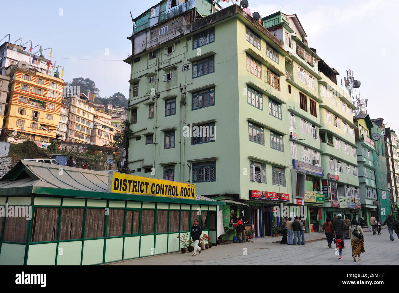 India, Gangtok, capital of Sikkim State, and means 'top of the hill' - Stock Image