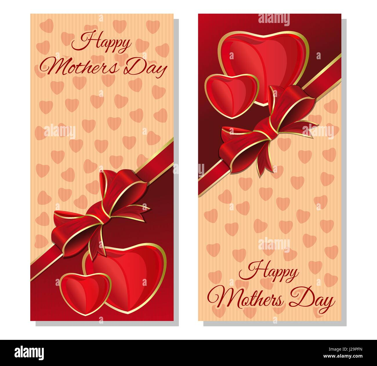 Happy mothers day greeting cards set festive red and beige stock happy mothers day greeting cards set festive red and beige background with design elements for mothers day vector flyer template m4hsunfo