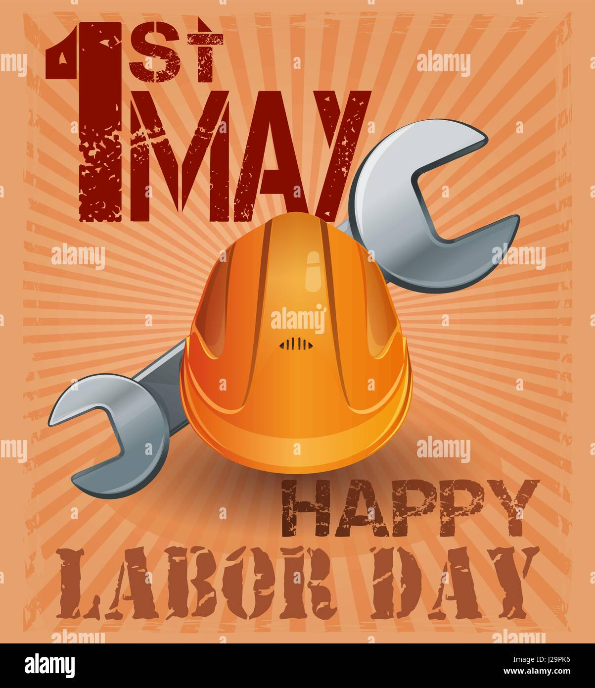 International Labor Day. 1st May. Retro poster with hard hat and wrench on vintage grunge background. International - Stock Vector