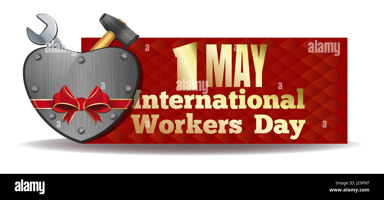 1 May International Workers Day. Iron heart and tools tied with red ribbon. Workers Day card. May Day. Vector illustration - Stock Vector