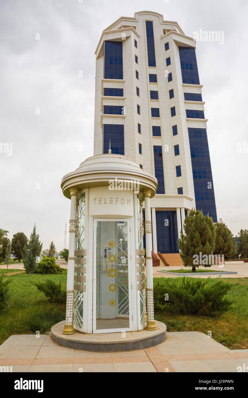 Turkmenistan, Ashgabat, Telephon booth - Stock Image