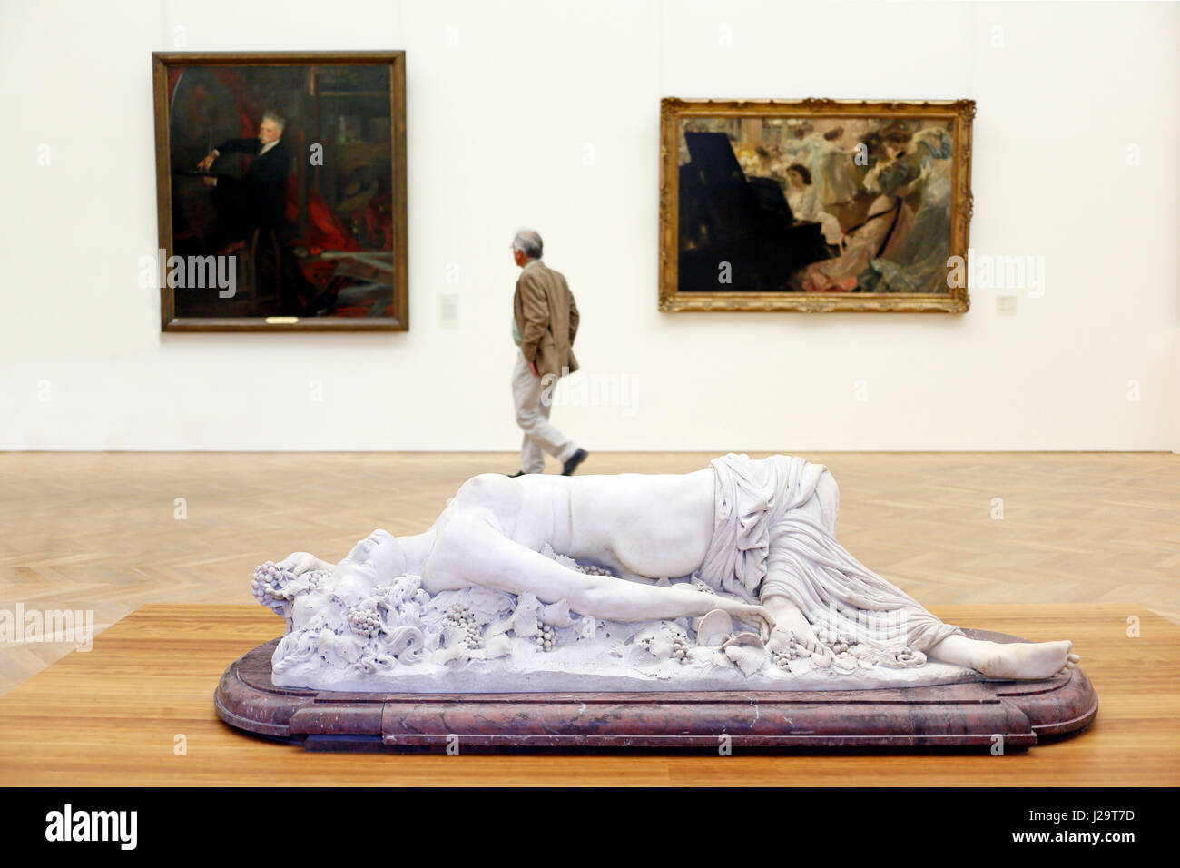 France, Paris, 8th district, Petit Palais. Sculpture of a Maenad, by Auguste Clesinger (marble, 1848) in the foreground. Stock Photo