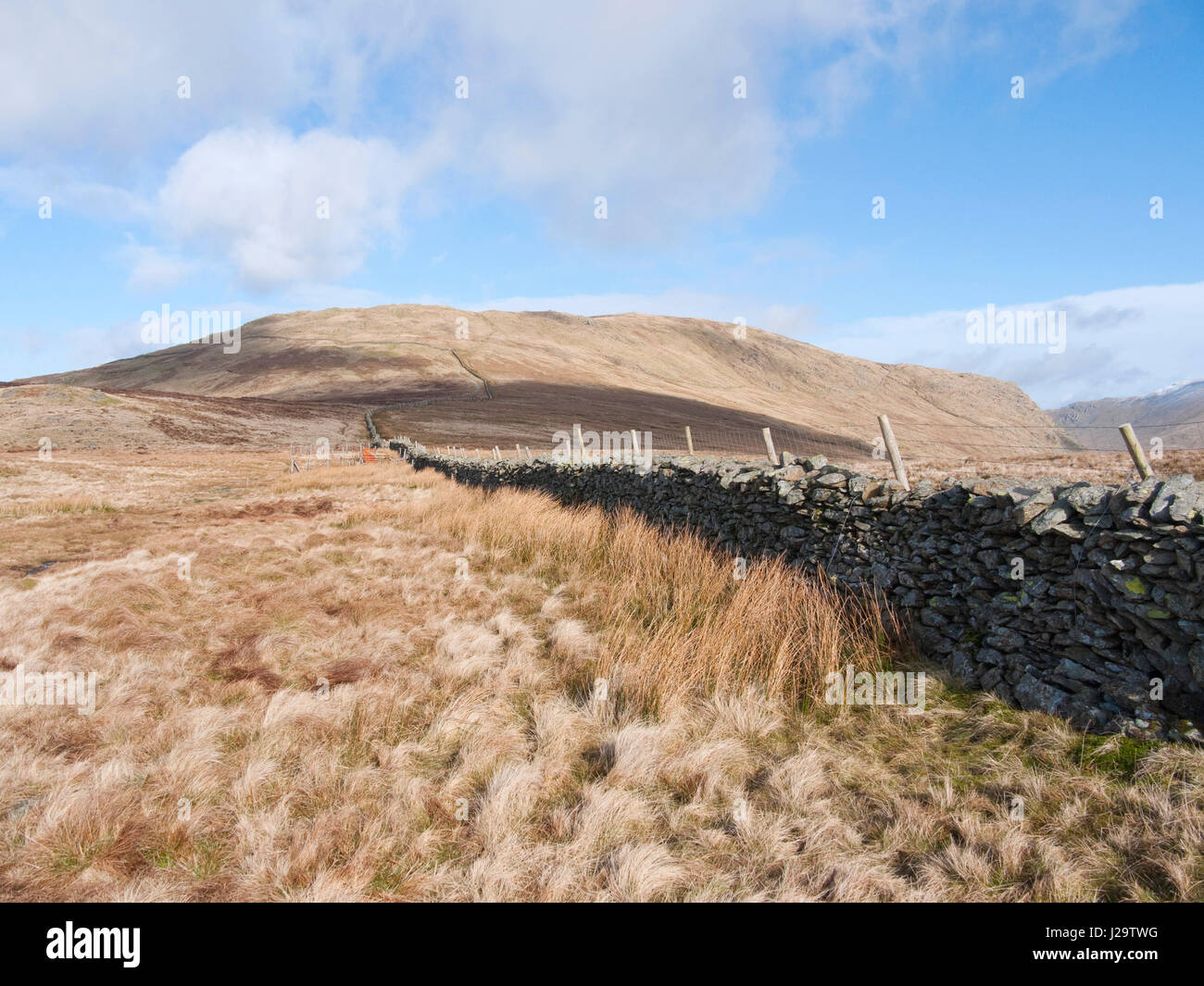 Approaching the Lakeland fell of Yoke from the Garburn Pass on its south side - Stock Image