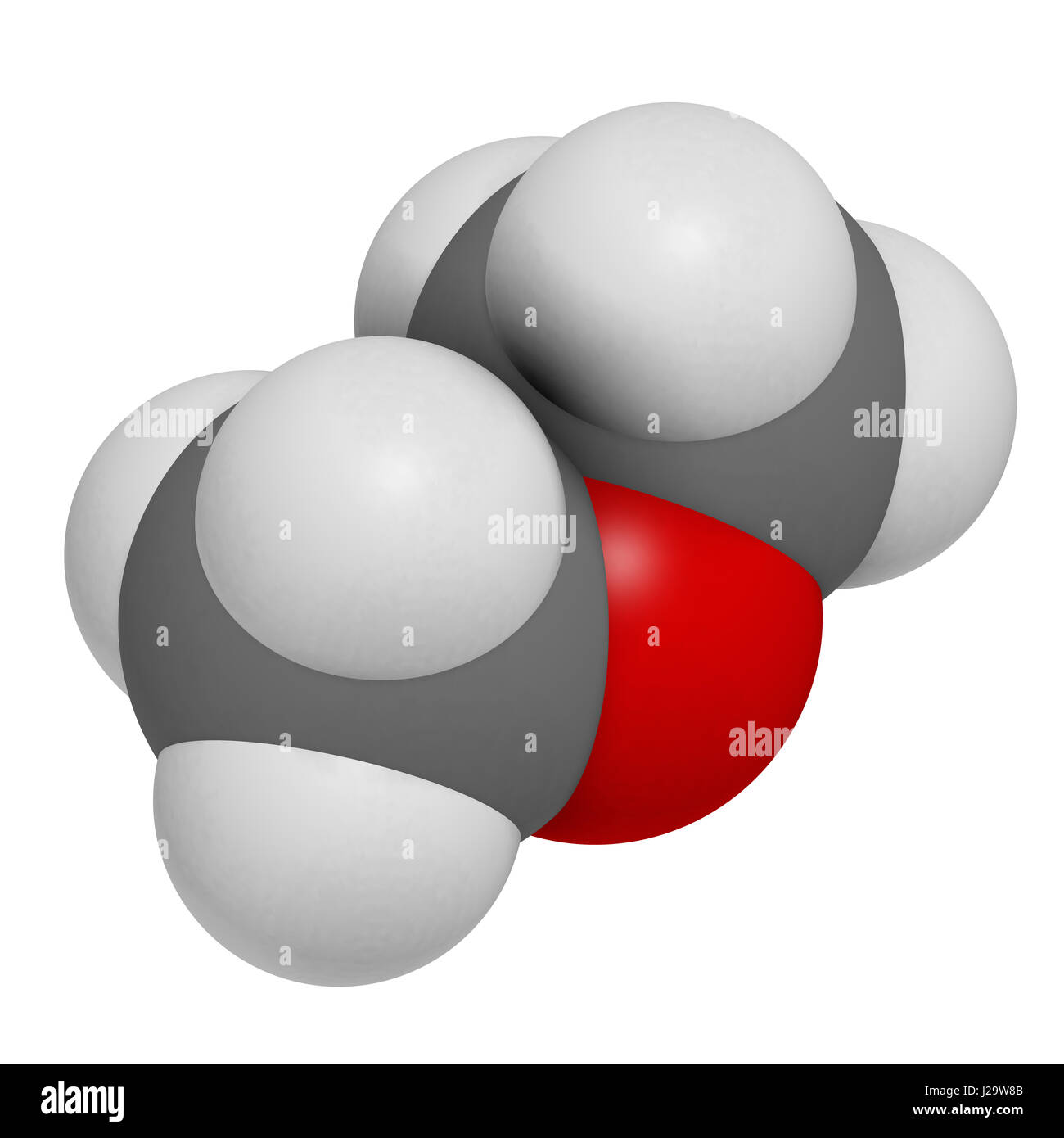 Dimethyl ether (methoxymethane, DME) molecule. 3D rendering. Atoms are represented as spheres with conventional - Stock Image