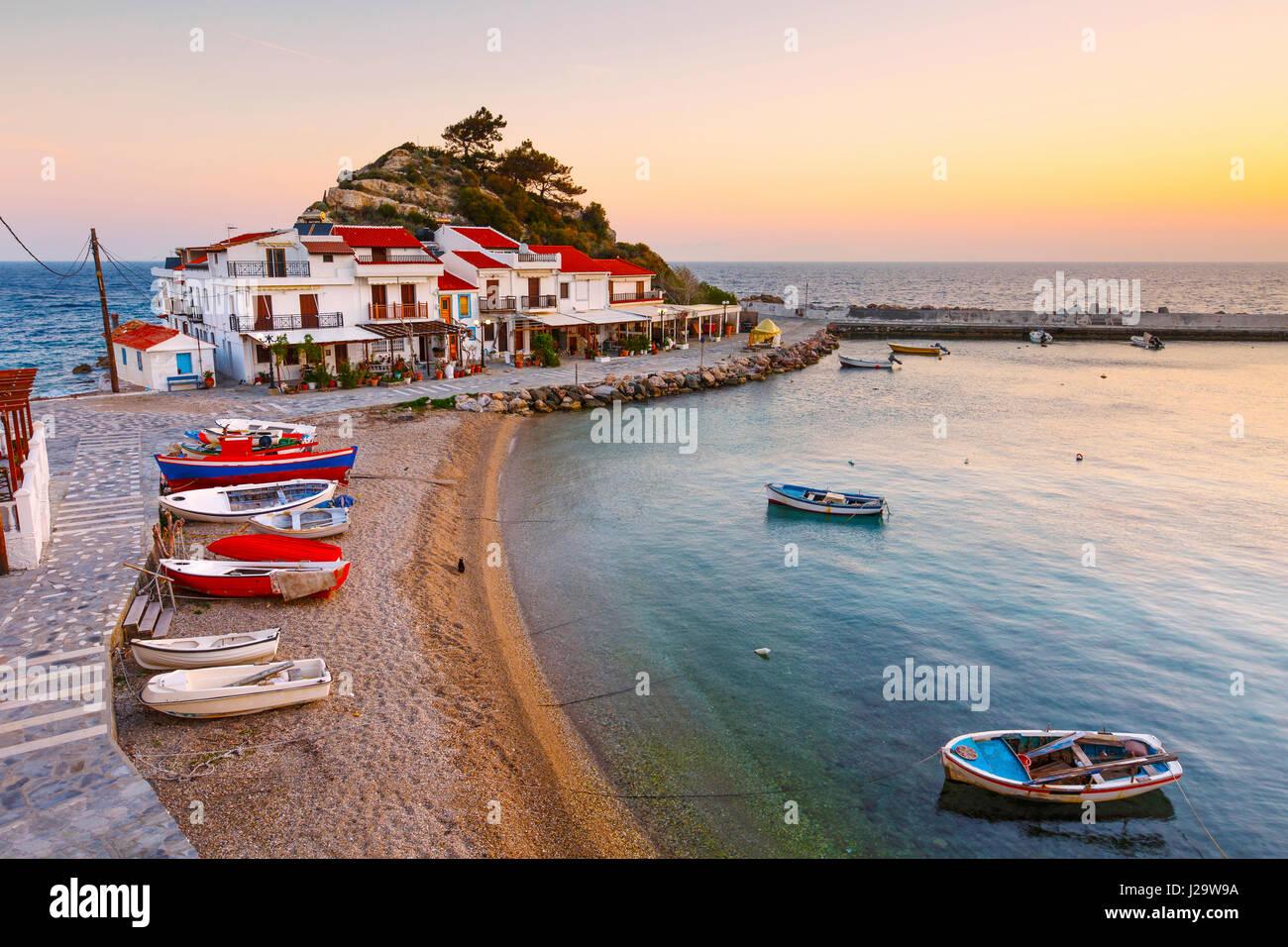 Picturesque Kokkari village on Samos island, Greece. - Stock Image