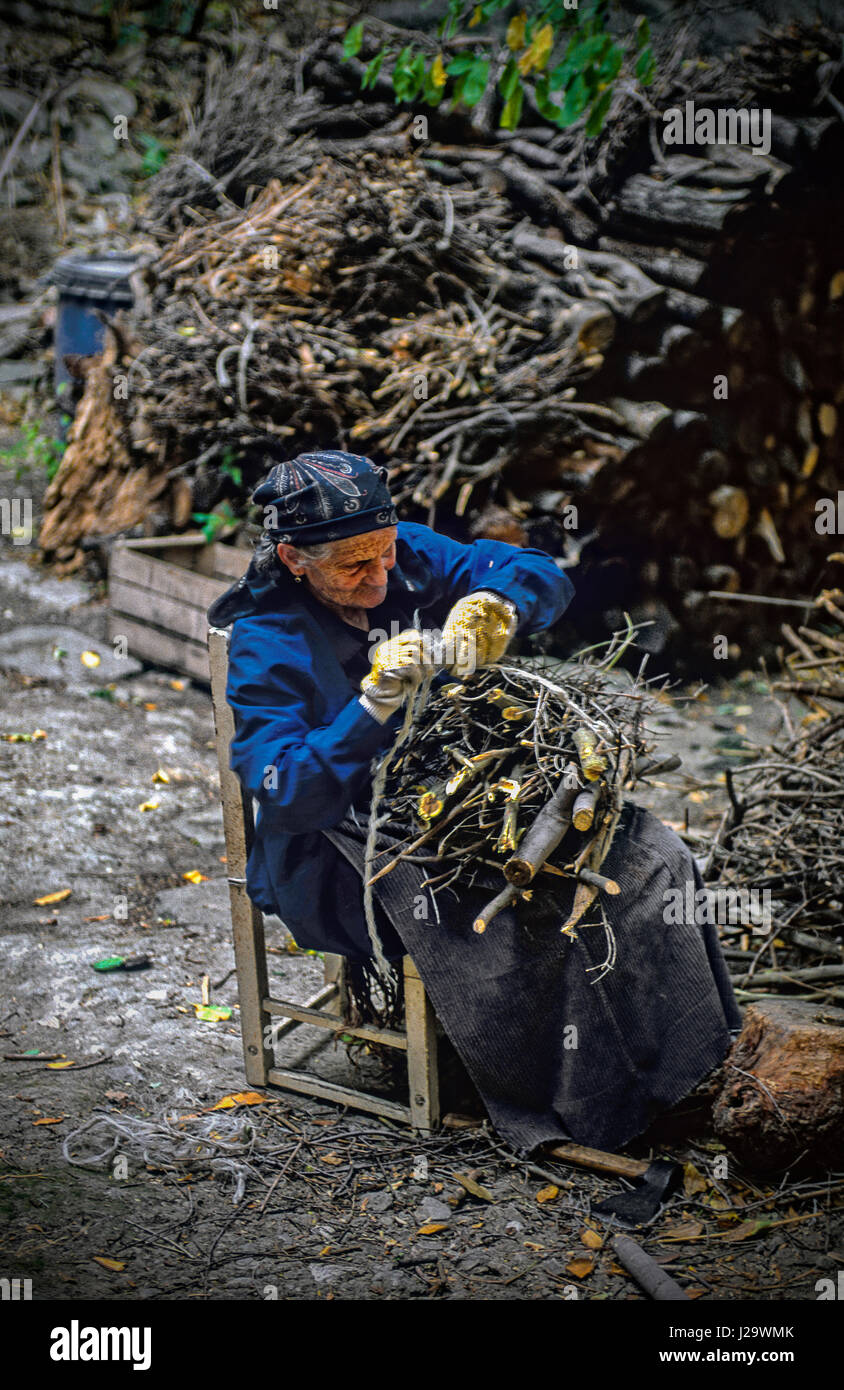 Italy Abruzzo Roccascalegna -Elderly woman prepares wood bundles for the winter - Stock Image