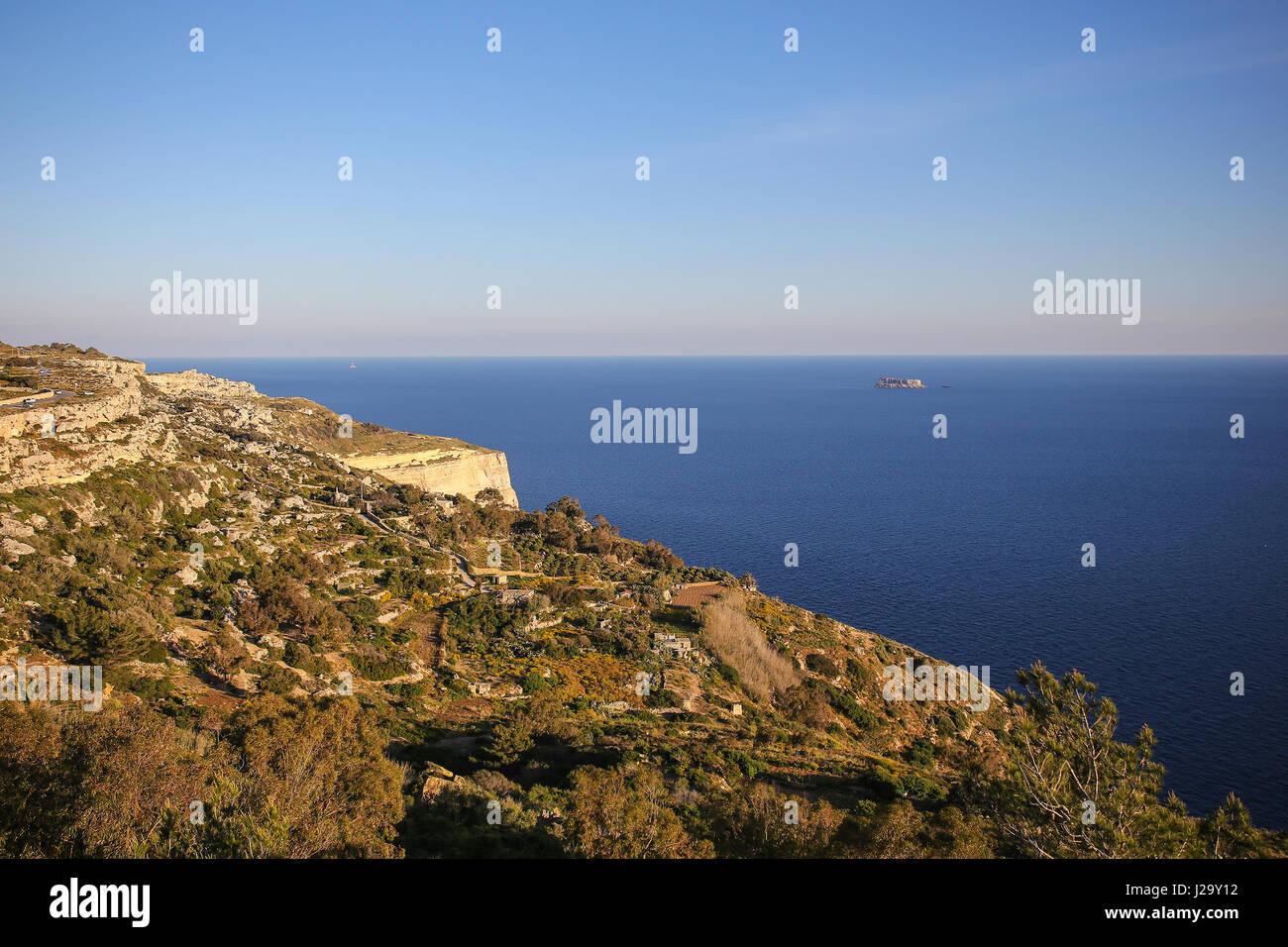 Cliffs of Dingli, Malta - Stock Image