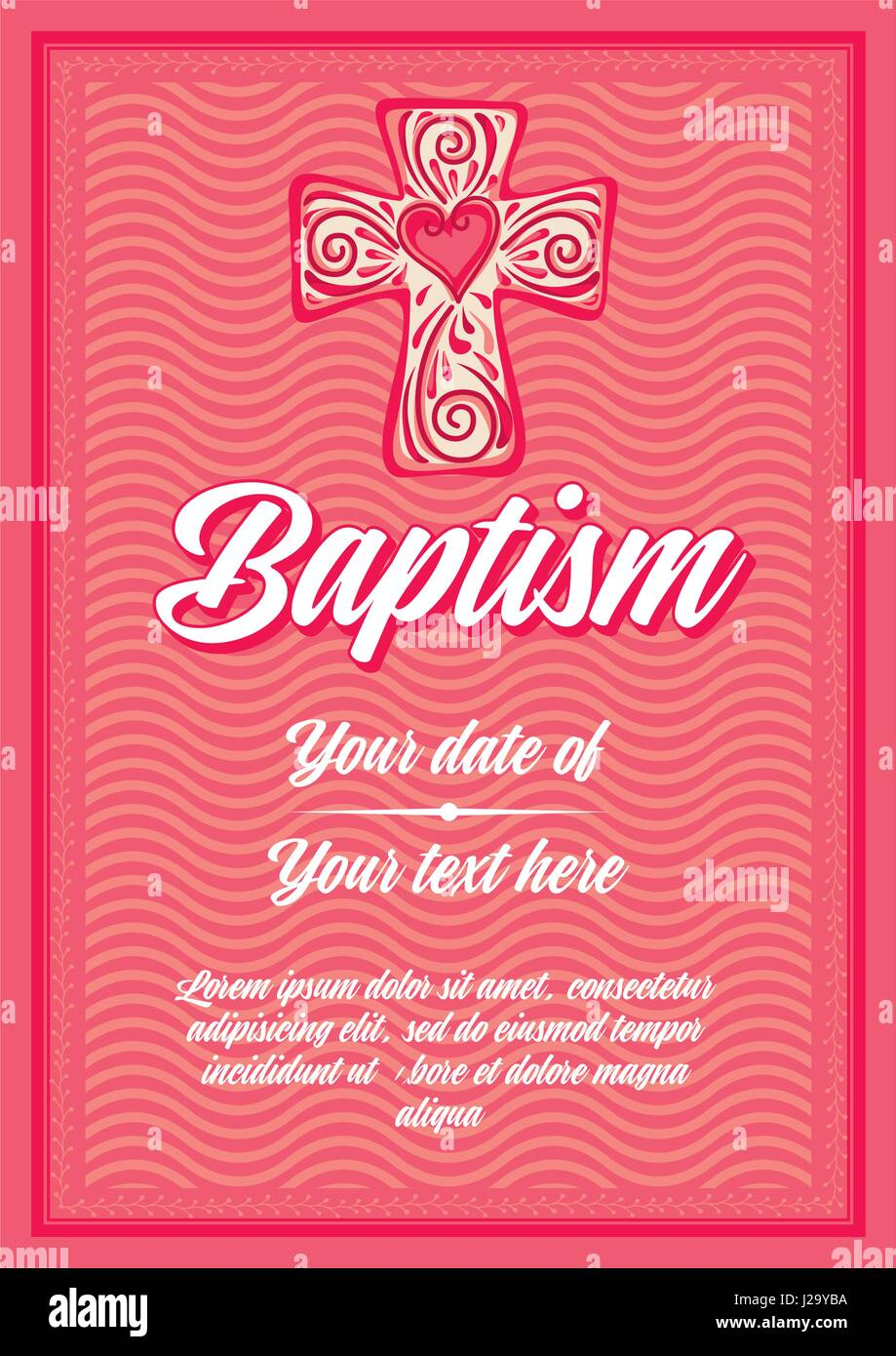 postcard christian baptism invitation congratulation certificate