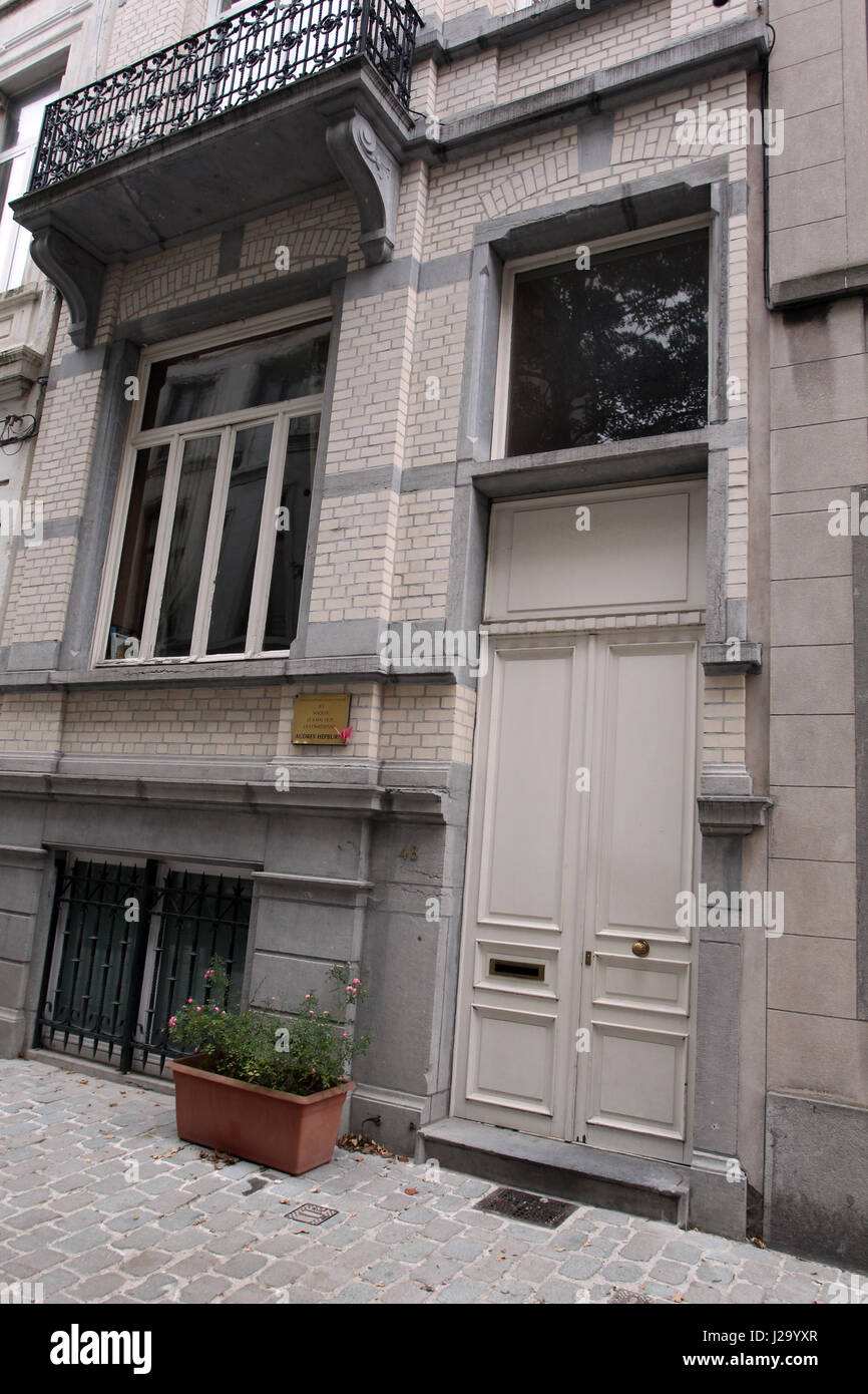 The birthplace of movie actress Audrey Hepburn in the Ixelles municipality of Brussels Belgium May 4th 1929. 48 - Stock Image