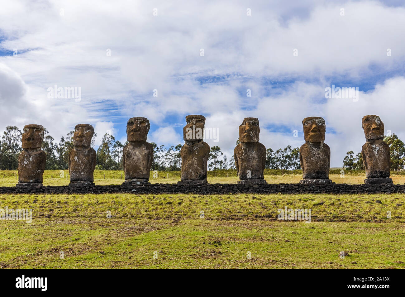 Ahu Akivi site, the only moai statues facing towards the sea in Easter Island, Chile - Stock Image