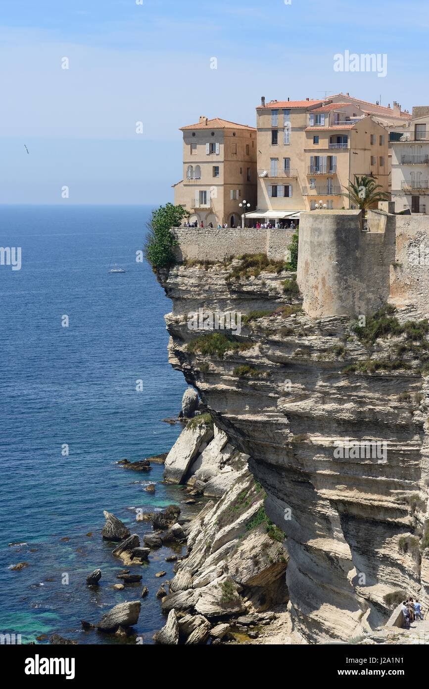 Large lumps of limestone fallen of the cliff of Bonifacio - Stock Image