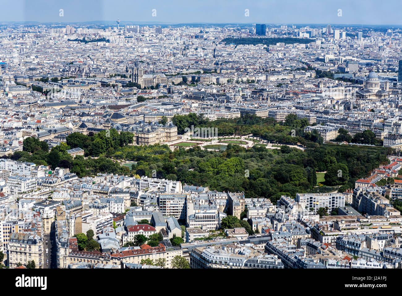 Aerial view of the Luxembourg Palace and Gardens from the observation deck at the top of the Tour Montparnasse, Stock Photo