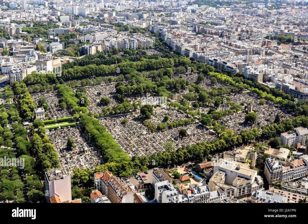 Montparnasse Cemetery (La Cimetière du Montparnasse) from the observation deck at the top of the Tour Montparnasse, - Stock Image