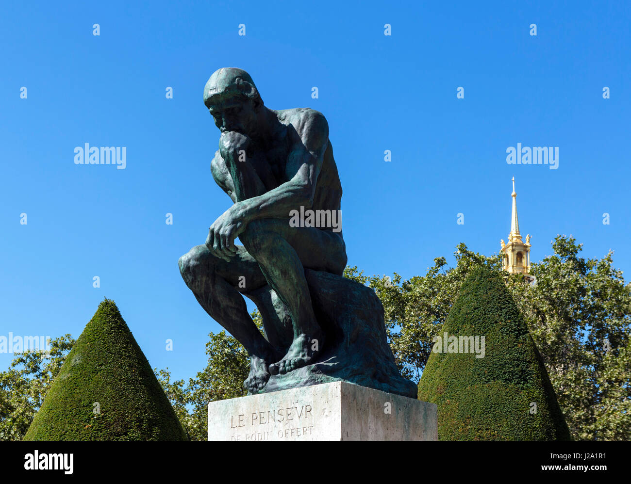 Auguste Rodin's Le Penseur (The Thinker) at The Musee Rodin, Paris, France - Stock Image