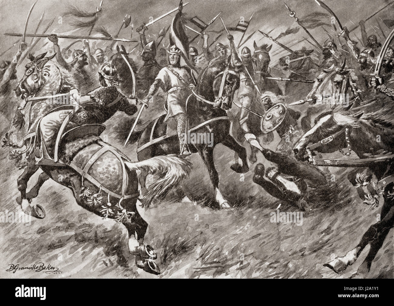 Alfonso of Aragon leads an army against the Moors in the early 12th century.  Alfonso I, C.1073-1134, called the - Stock Image