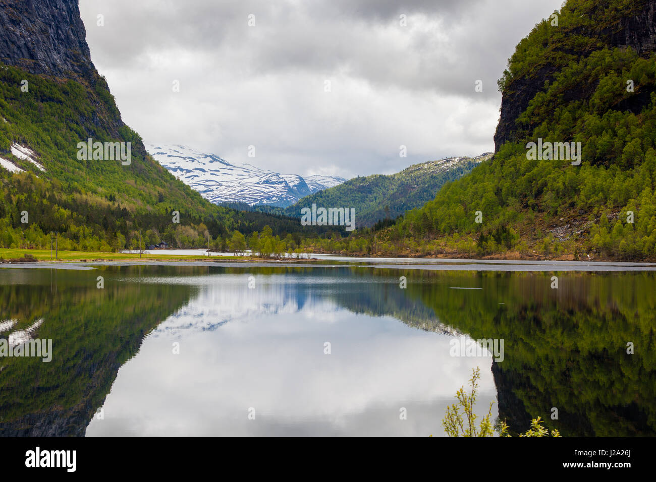 Typical landscape west in Norway Stock Photo