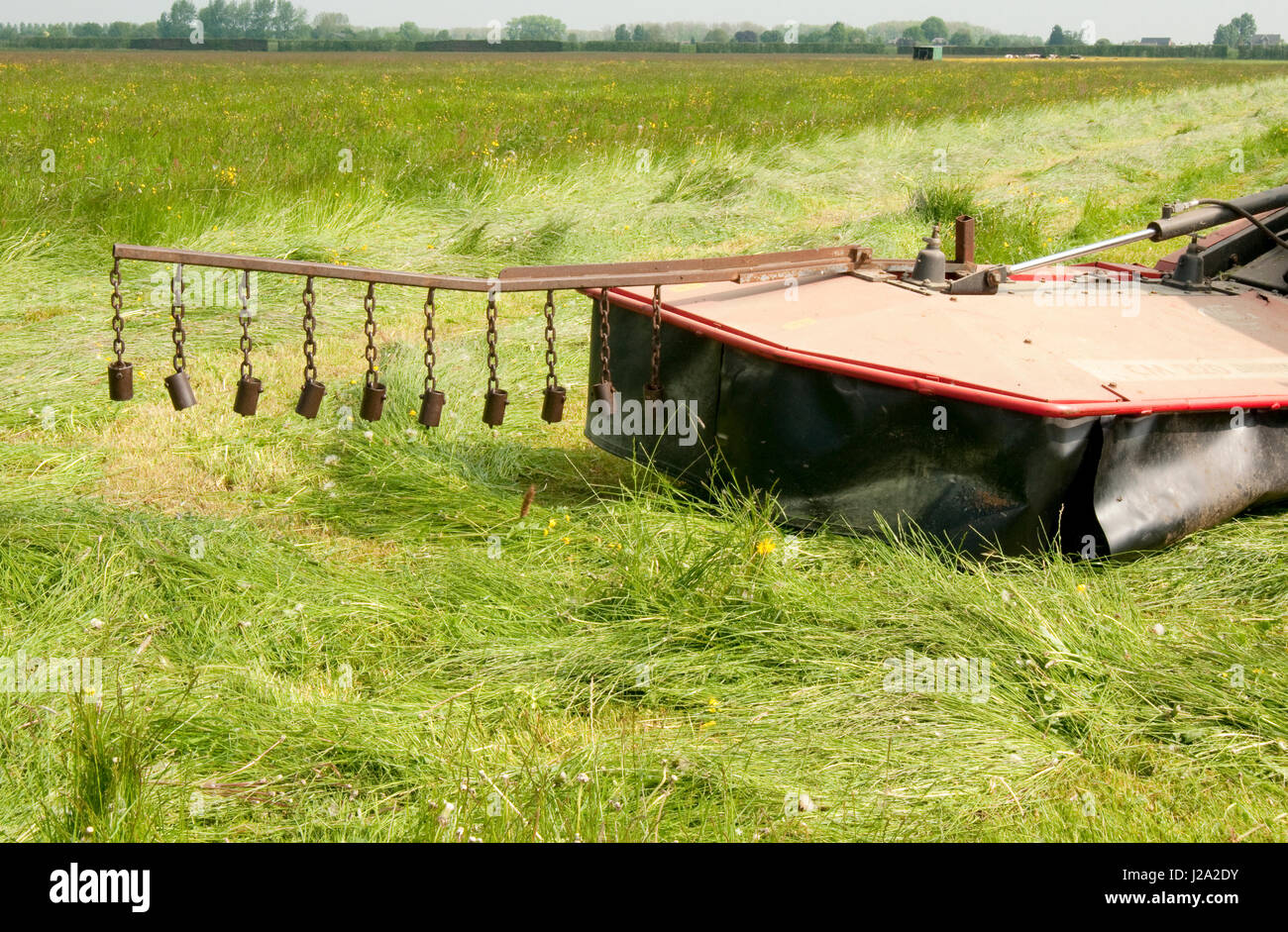 An extension to a tractor to save animals when mowing the grass Stock Photo