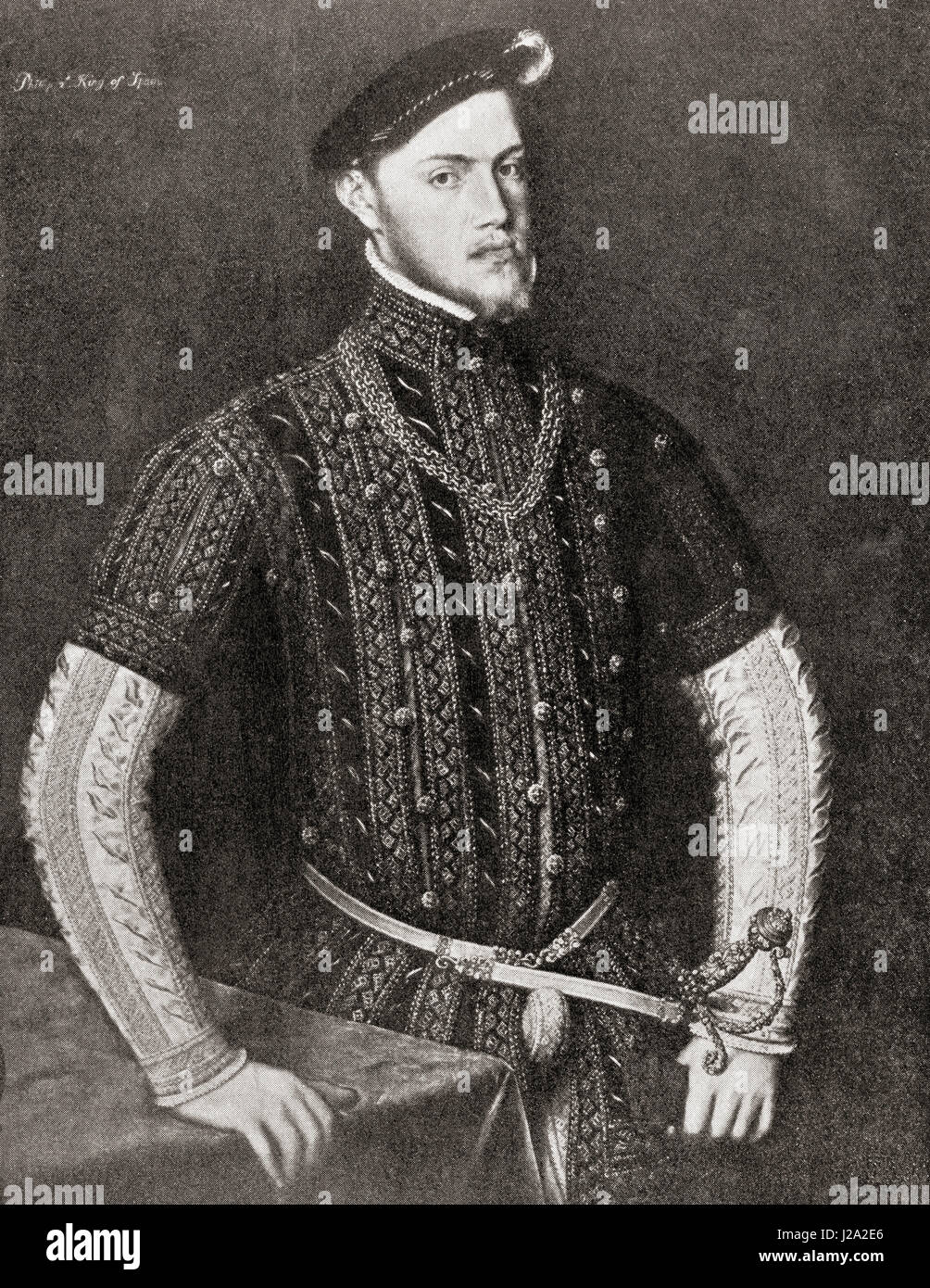 Philip II of Spain, 1527 – 1598, called 'the Prudent'.  King of Spain, King of Portugal as Philip I, King - Stock Image