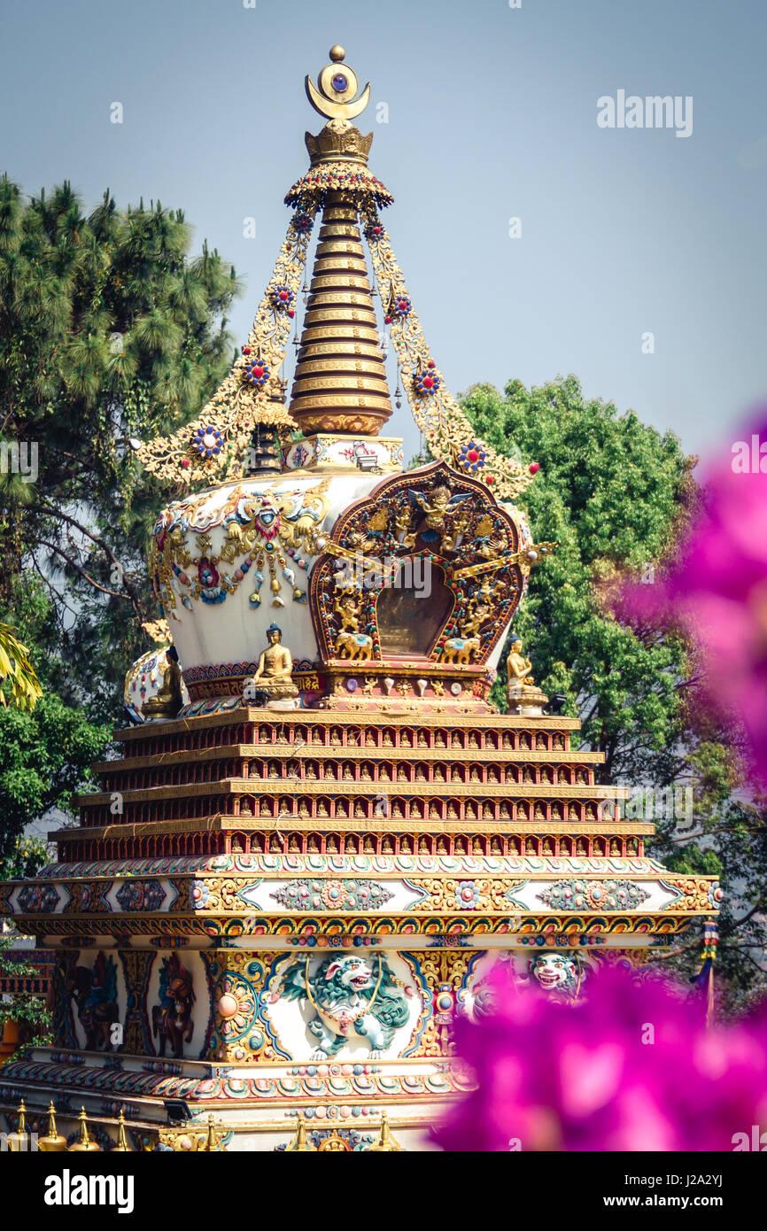 Stupa at Kopan Monastery temple garden in Kathmandu Nepal. Stock Photo