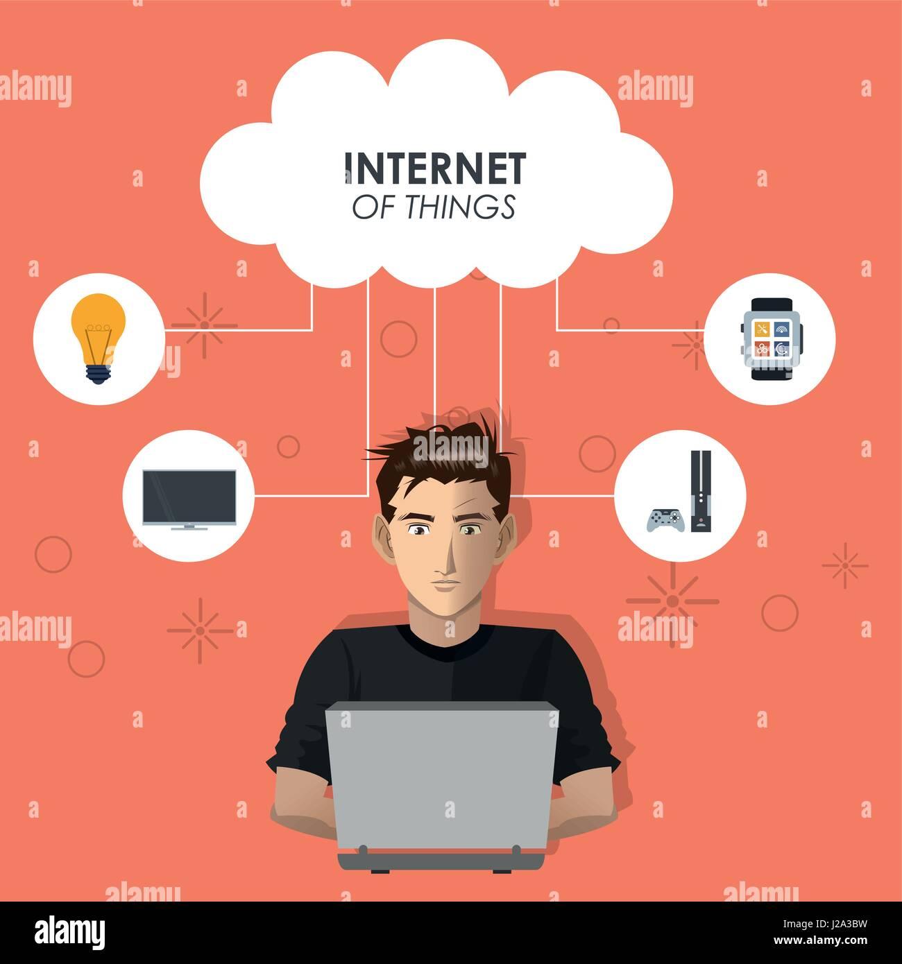 internet things man working laptop cloud computing technology - Stock Image