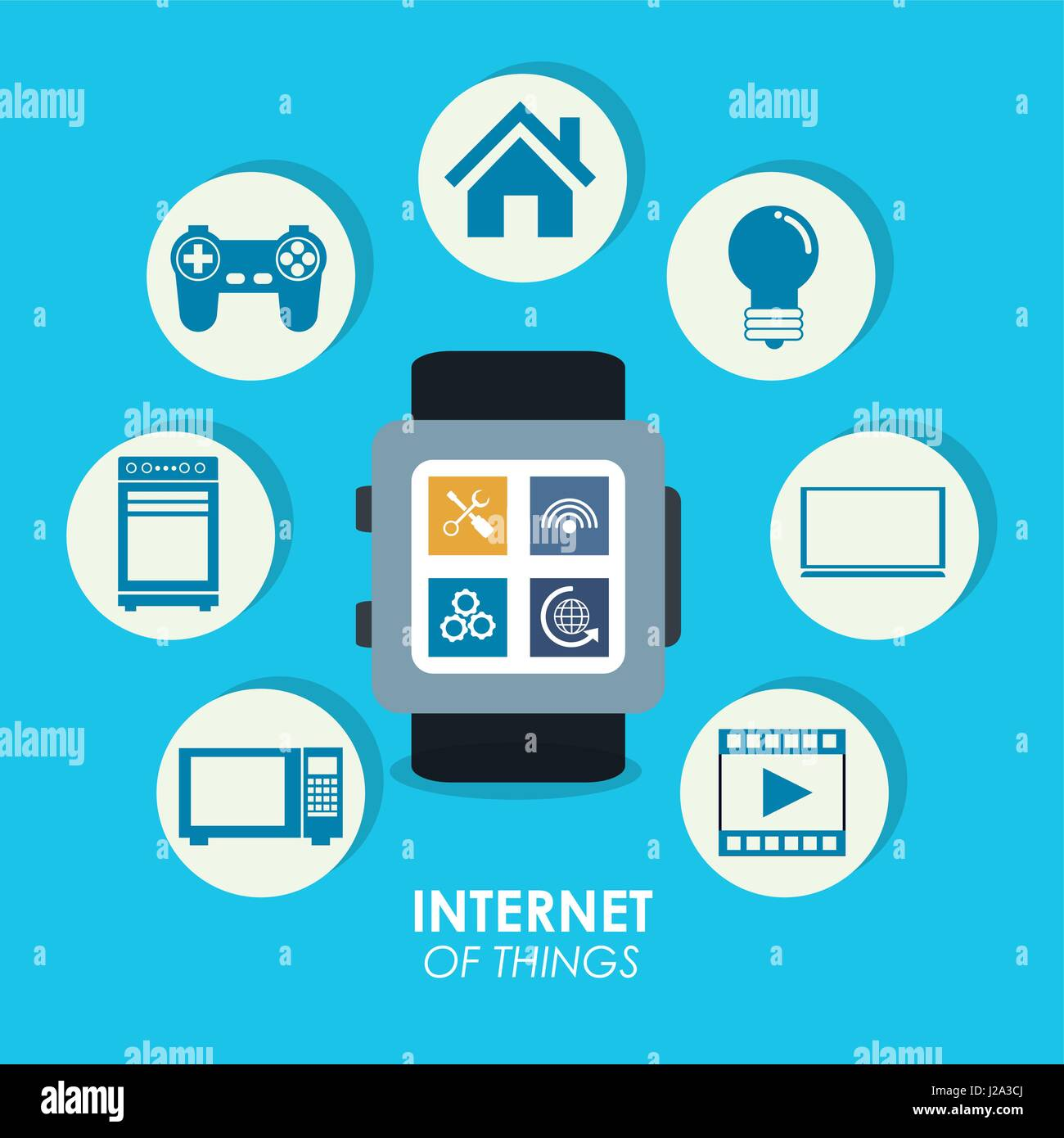 internet of things smart watch trendy social media - Stock Image