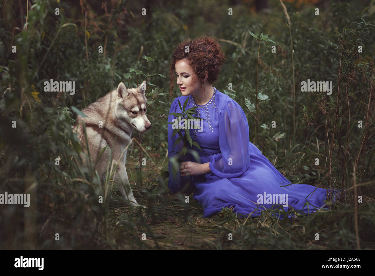 Girl says the dog tale, they are in the fairy forest. - Stock Image