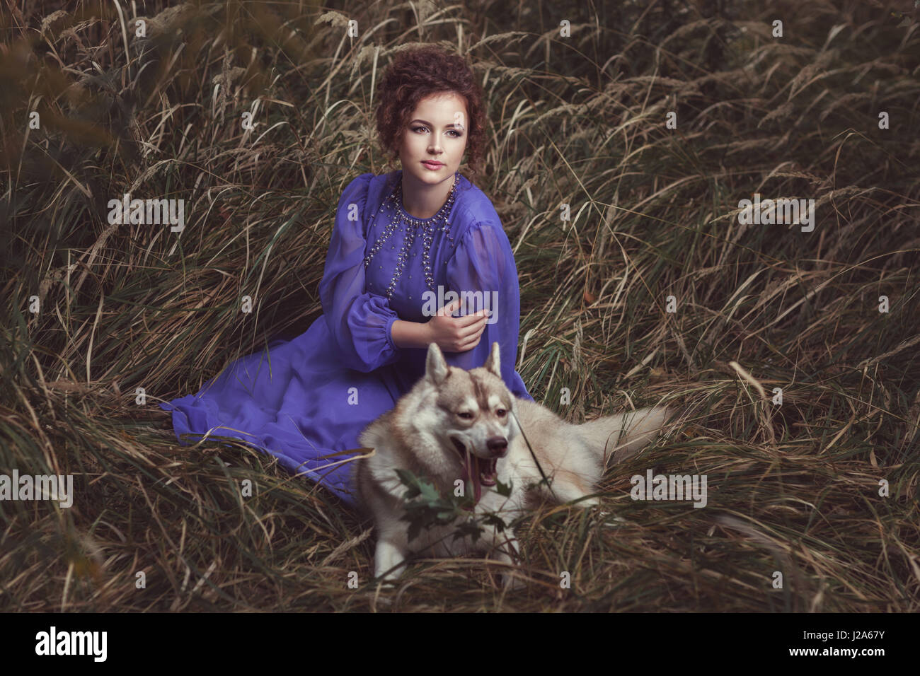 The curly-headed girl dressed in a beautiful dress lies a dog huskies nearby. - Stock Image