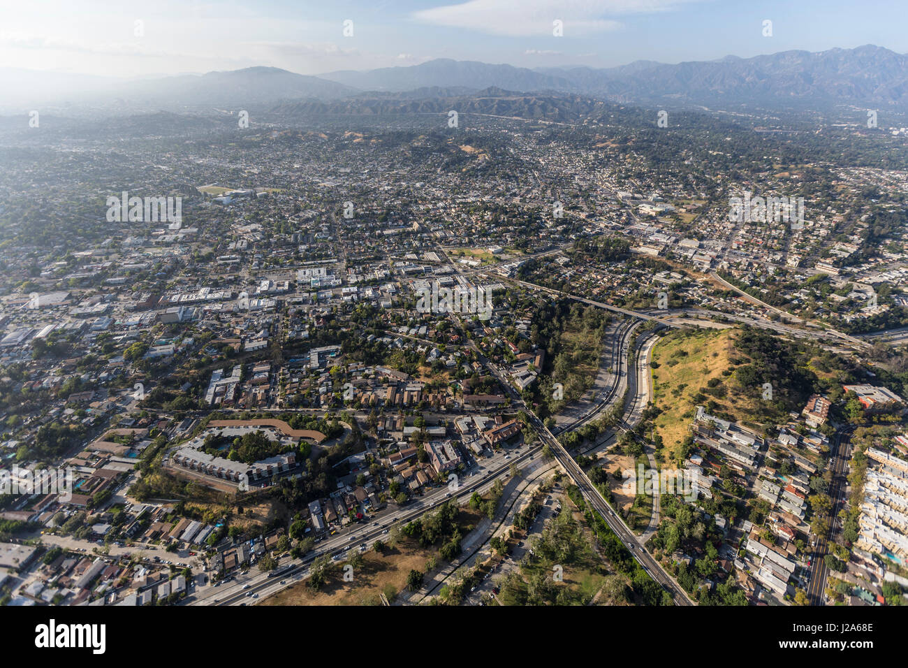 Aerial view of the Highland Park community in northeast Los Angeles, California. - Stock Image