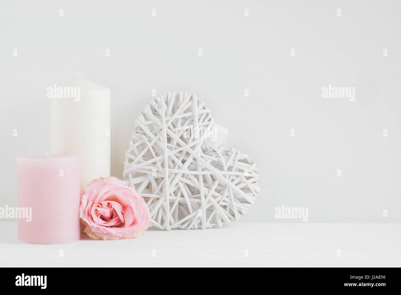 Floral styled stock photography with white copy space for your own business message, promotion, headline, great - Stock Image
