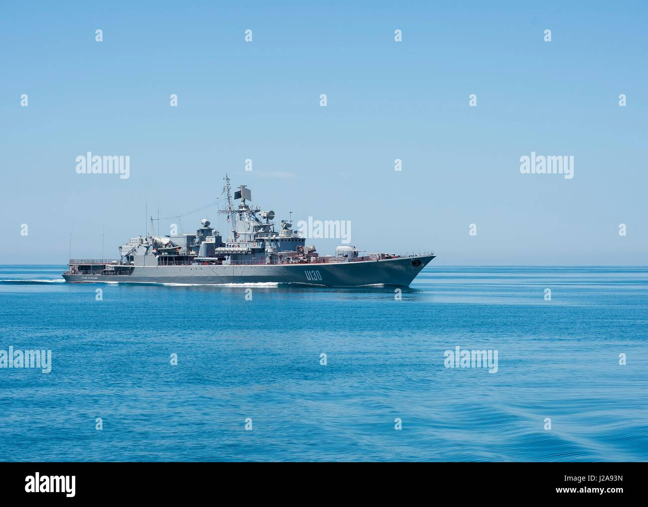 The Ukranian Navy Nerei Menzhinskiy-class frigate Hetman Sahaydachniy steams underway June 1, 2015 in the Black - Stock Image