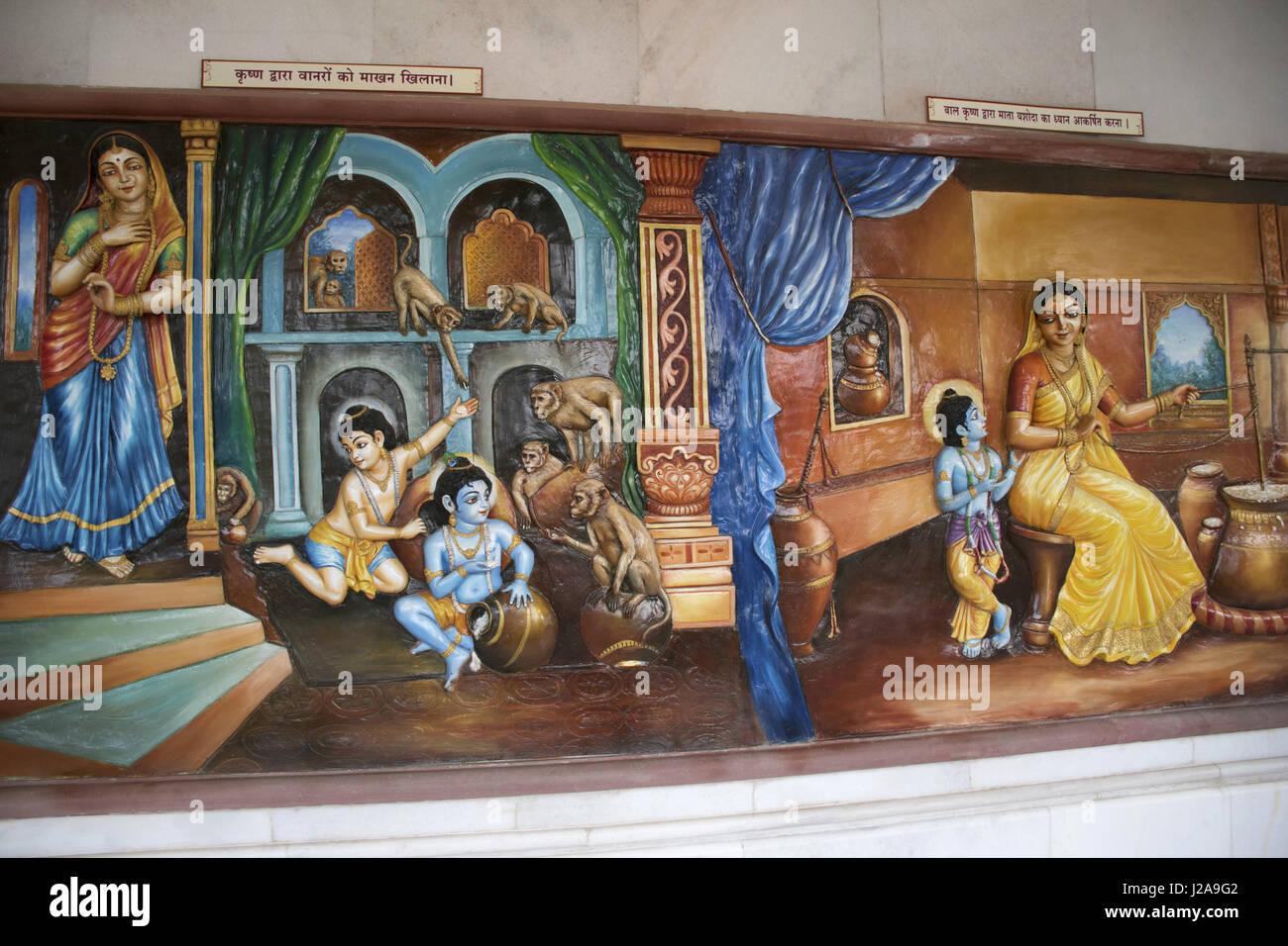 Lord Krishna's childhood scene. Iskcon temple, Pune, Maharashtra - Stock Image