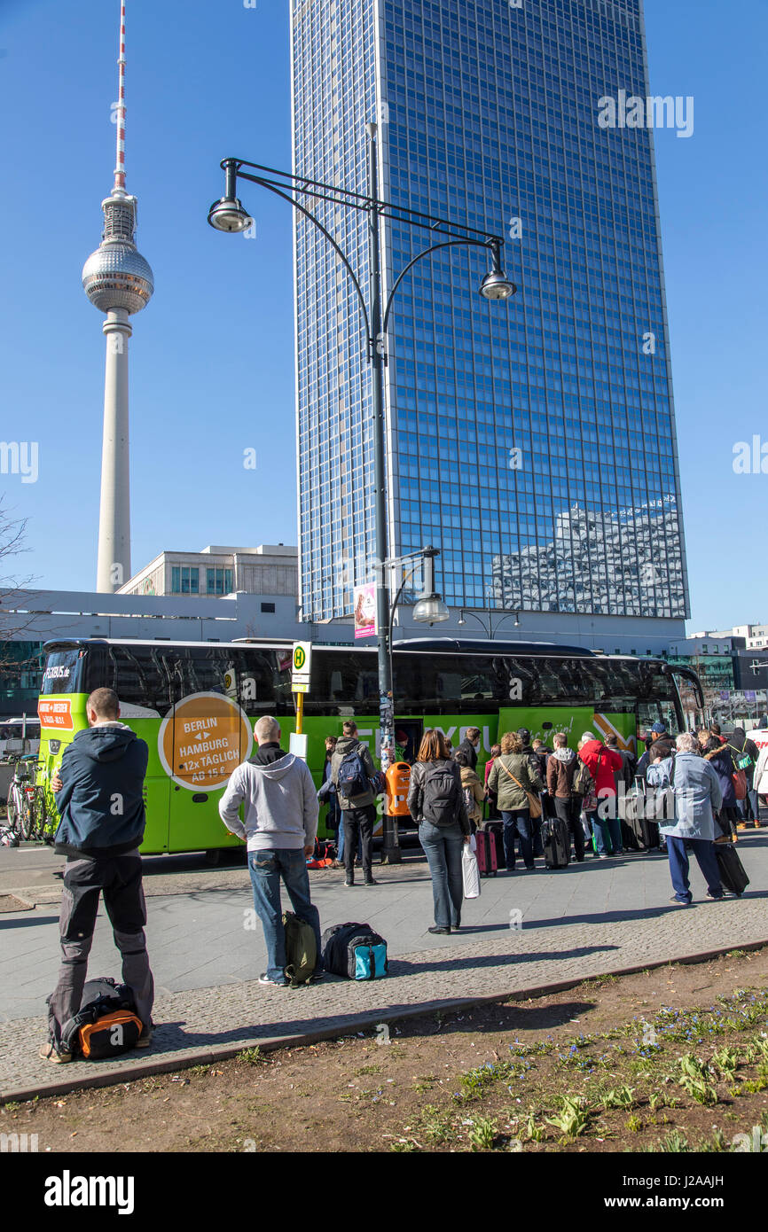 Bus stop of Flixbus company, a German long distance bus service through out Germany and Europe, Berlin, Alexander - Stock Image