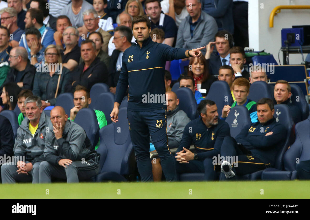 Tottenham's Manager Mauricio Pochettino during the Premier League match between Tottenham Hotspur and Sunderland - Stock Image