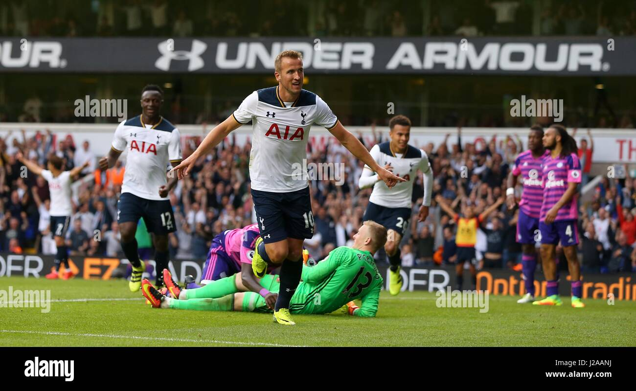 Harry Kane of Tottenham celebrates scoring the opening goal during the Premier League match between Tottenham Hotspur - Stock Image