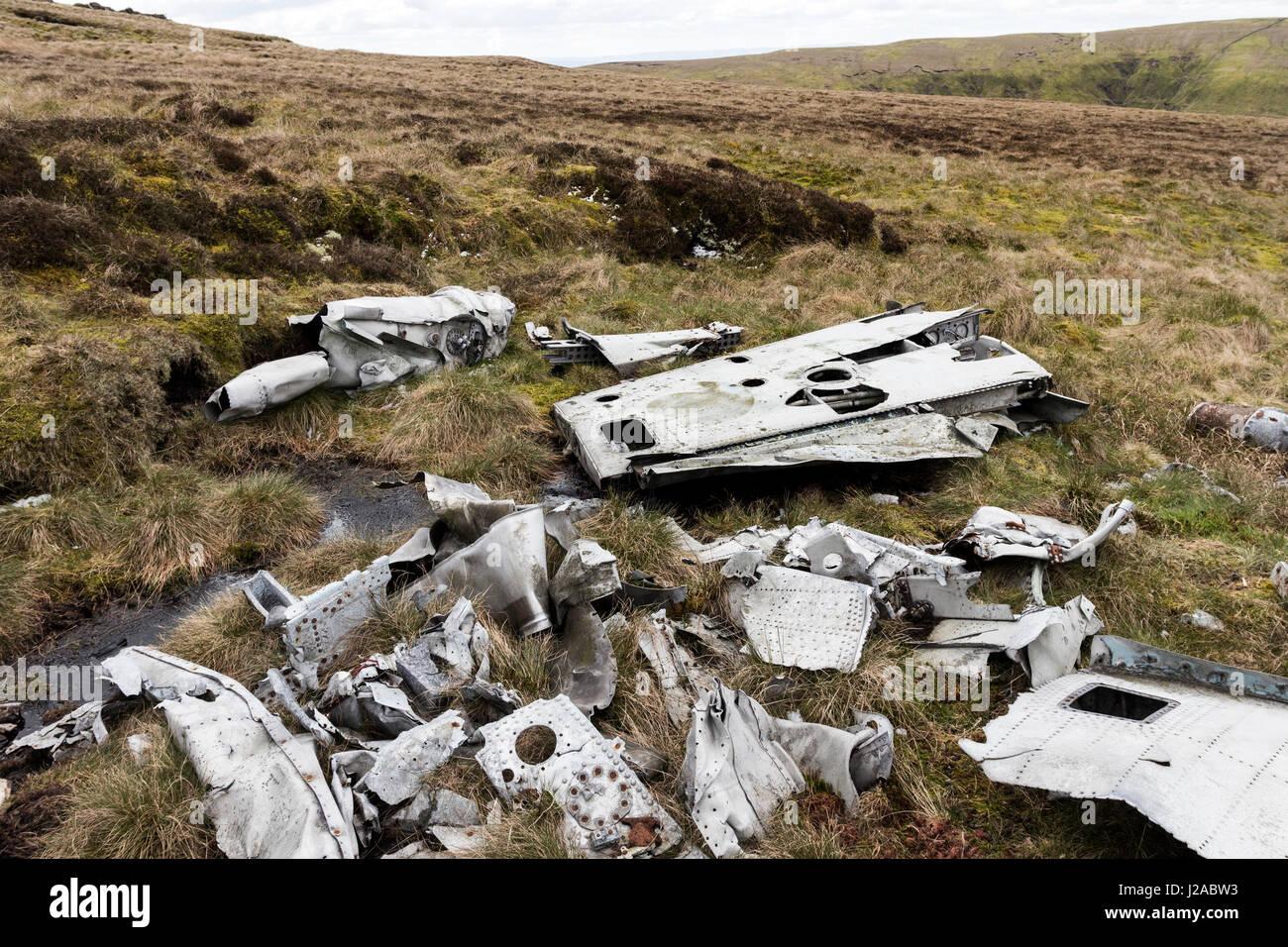 The wreckage of an RAF, De Havilland Venom Mk4, Serial No WR557, of No.22 Maintenance Unit which crashed near Farlam - Stock Image