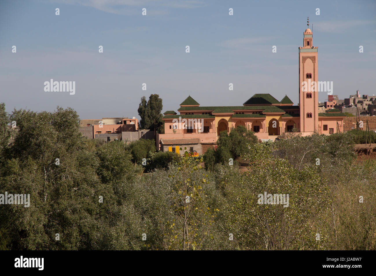 Morocco, Marrakech. Arched doors and windows of a countryside Mosque near Tinmal. - Stock Image