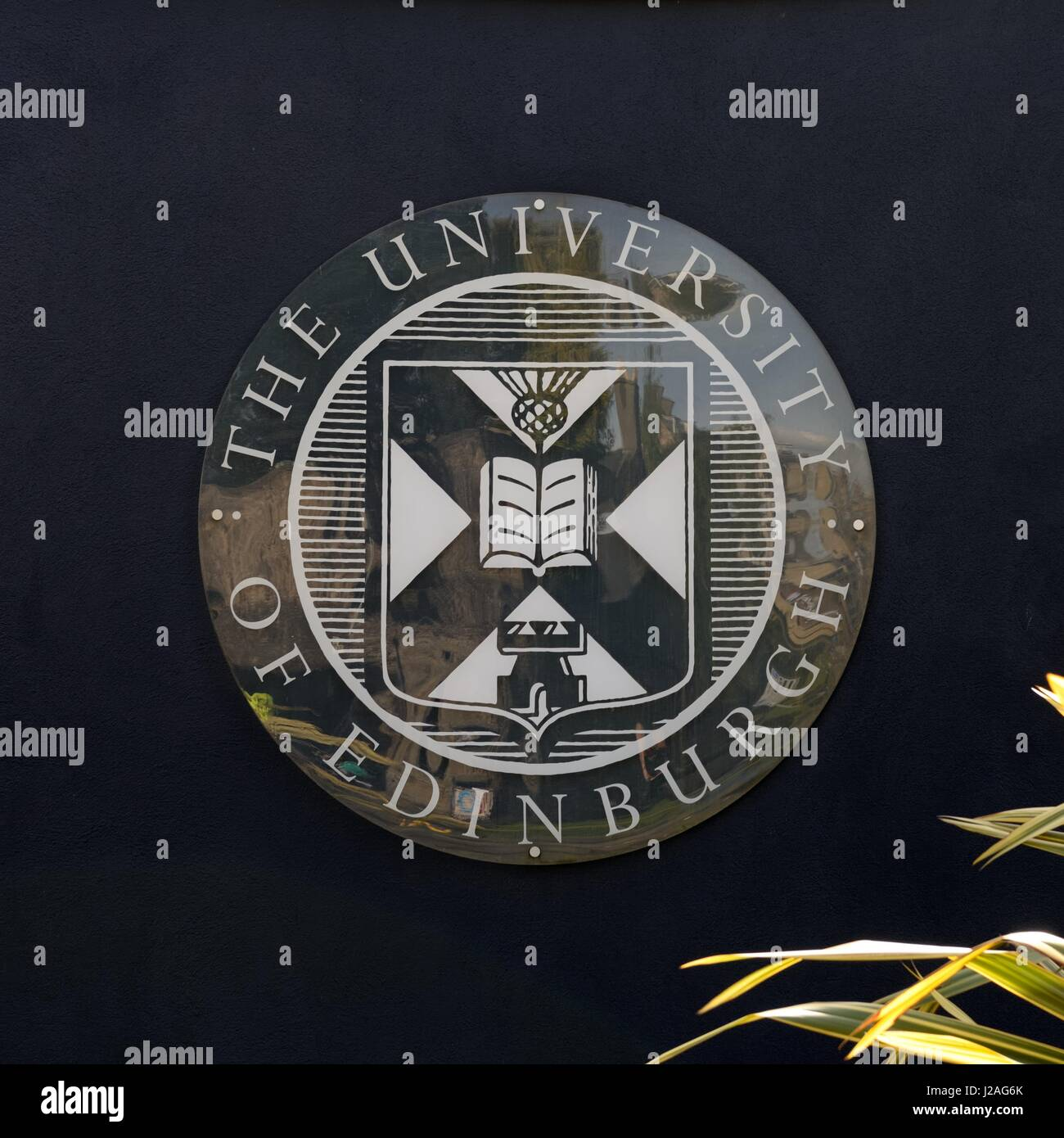 Glass plate on a wall showing the coat of arms of Edinburgh University, Scotland, UK - Stock Image