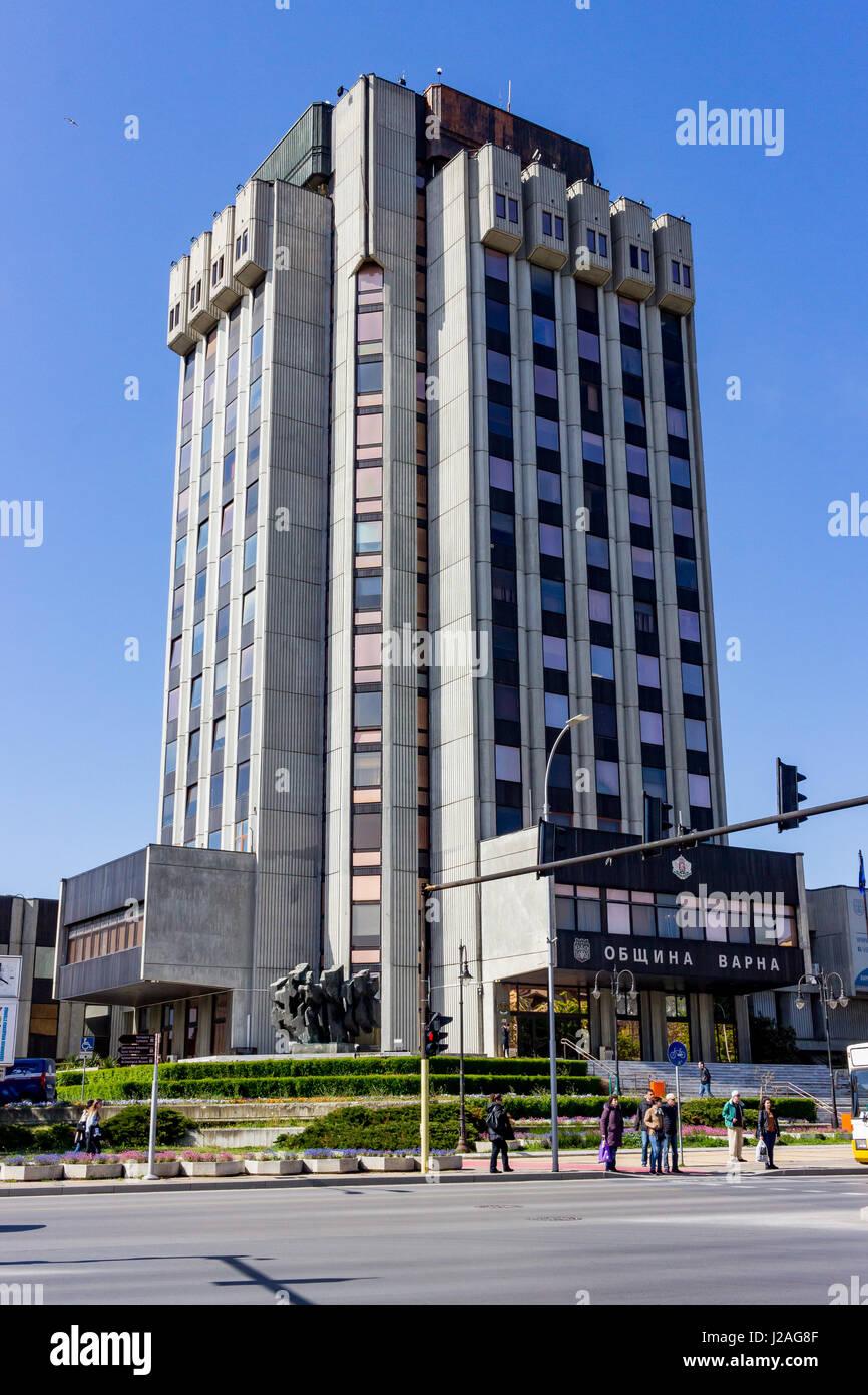 Varna, Bulgaria, April 26, 2017 Full height Varna City Hall - Stock Image