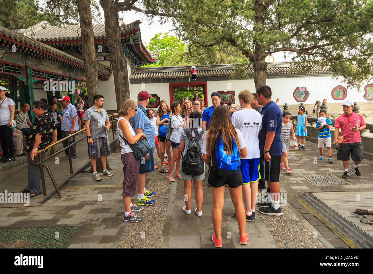 American Junior High School Group on Cultural Exchange Trip, Summer Palace, on Kunming Lake, World Heritage Site, - Stock Image
