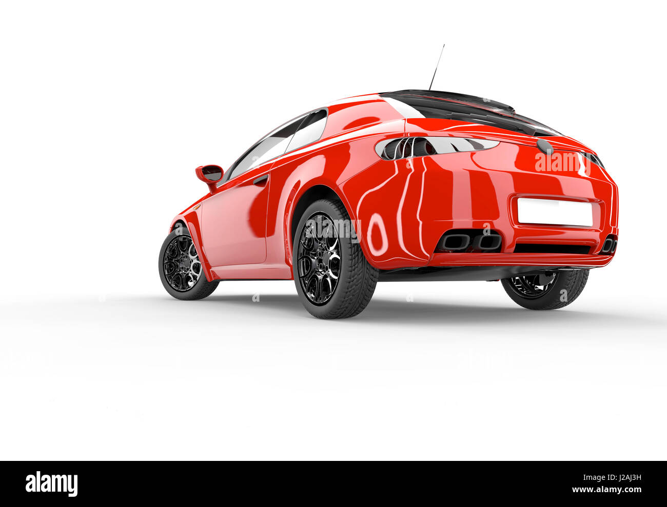 Back of a generic red sport car isolated on a white background - Stock Image