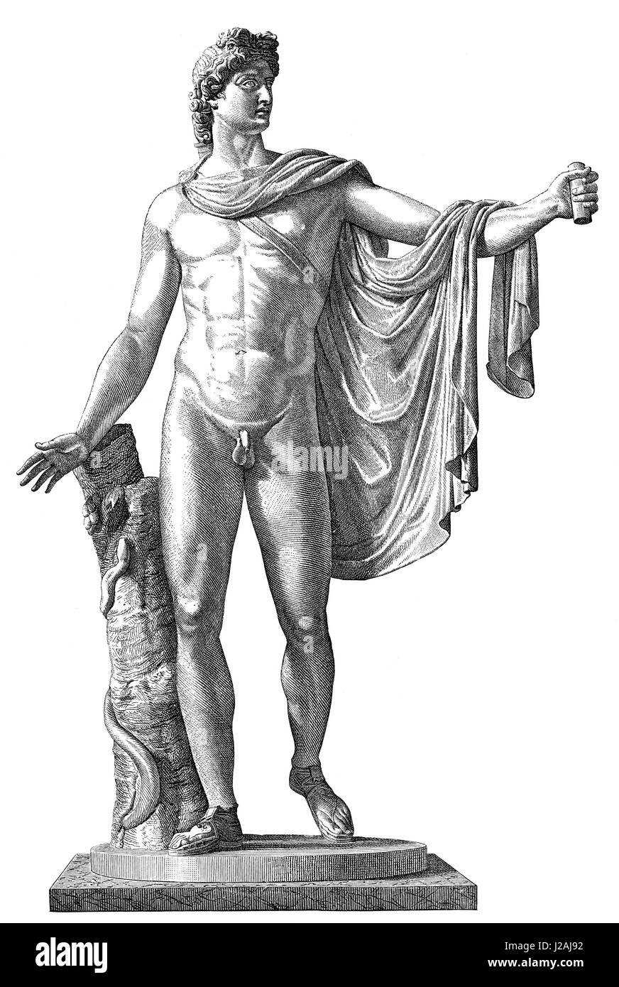 The Apollo of the Belvedere or Pythian Apollo, marble sculpture from Classical Antiquity - Stock Image