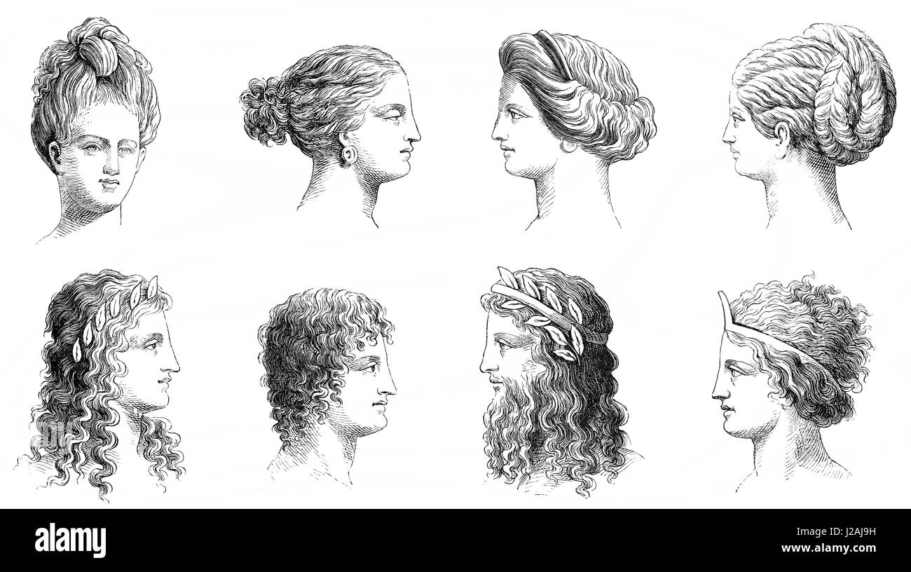 Traditional hairstyles in ancient Greece - Stock Image