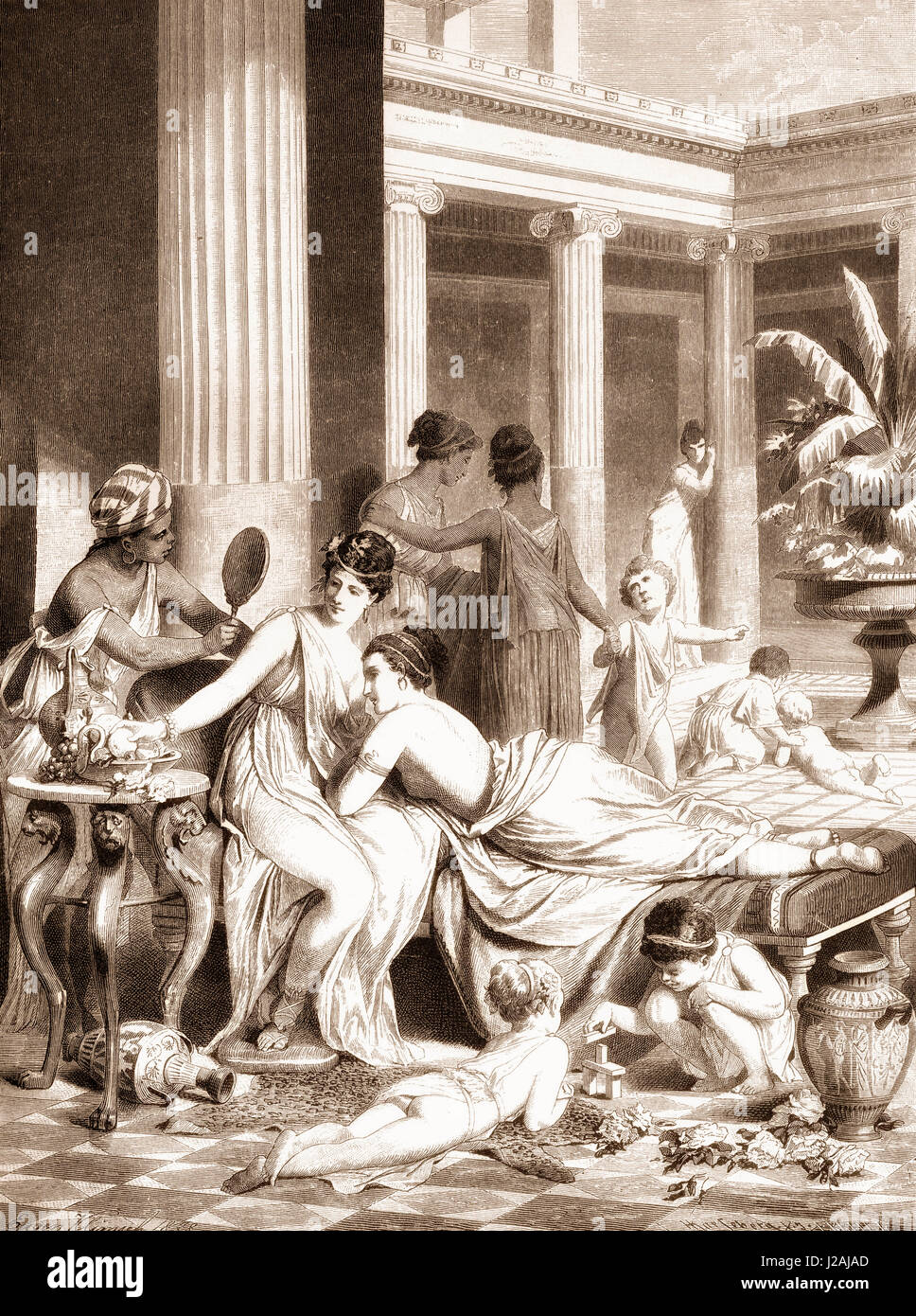 Morning scene in an ancient Greek women's peristyle - Stock Image